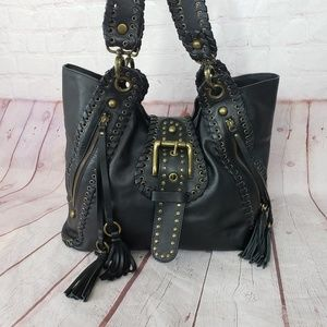 Besso Motorcycle leather black hobo